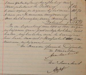 de rekening uit 1910 (RAT 696 inv. nr. 17, f. 169–169v.)