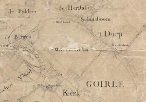 De Wilden acker tussen Kerk en 't Dorp, links van de huidige Kerkstraat (kaart van Zijnen, 1760)