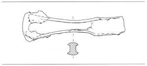 tekening van de bronzen bijl uit een van de grafheuvels (uit Verwers 1980, p. 30).