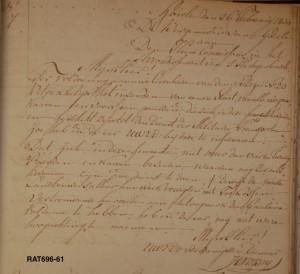 Het concept voor de brief aan de Commissaris in de raadsnotulen.