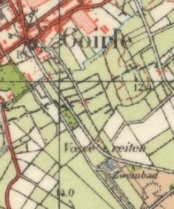 het zwembad op de topografische kaart van 1951