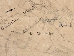 De molen op de kaart van Zijnen (1760). Aan de Molendijk spitst de Nieuwe Leij zich van de Oude Leij af. Ze stromen parallel aan elkaar naar het oosten.