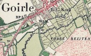 De watermolen op de topografische kaart van 1910. De gemeentegrens (stippellijn) volgt de Rovertse en Oude Leij.